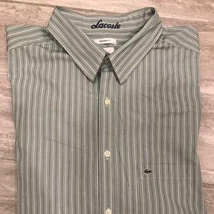 Lacoste green strip casual shirt.